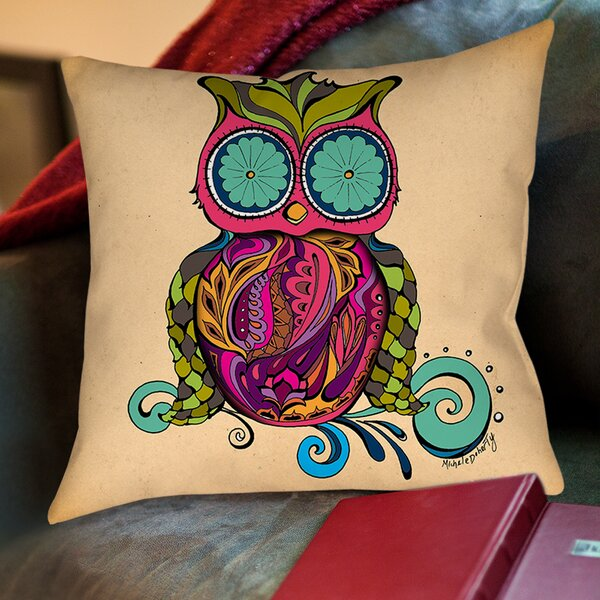 Owl Branch Gregir Throw Pillow by Manual Woodworkers & Weavers