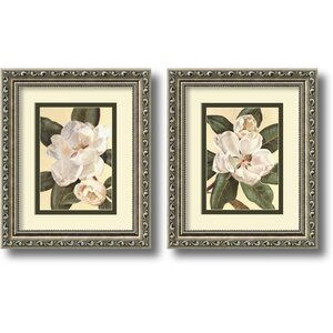 'Magnolias' Framed Graphic Art (Set of 2) by Three Posts