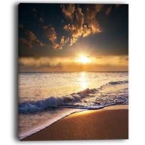 Sunset Over Foaming Waves Modern Beach Photographic Print on Wrapped Canvas by Design Art