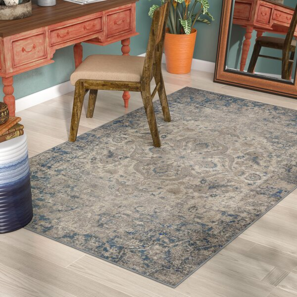 Ismael TaupeAqua Area Rug by World Menagerie