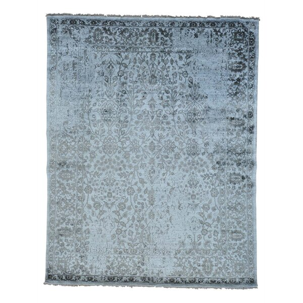 One-of-a-Kind Lise Broken Hand-Knotted Silk Gray Area Rug by One Allium Way