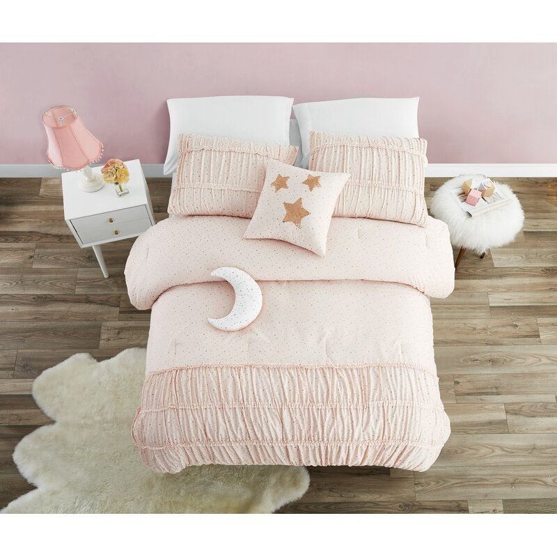 Falk Princess With Metallic Foil And Smocking Comforter Set by Harriet Bee