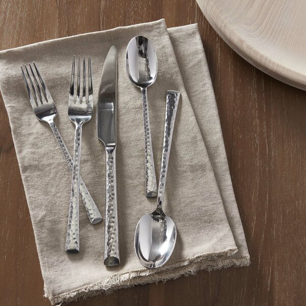Hydra 20-Piece Hammered Flatware Set by Wade Logan