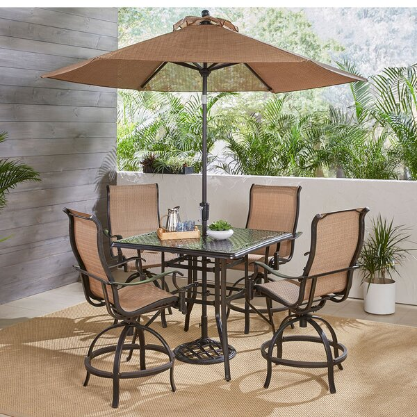 Buariki 5 Piece High-Dining Set with Umbrella by Fleur De Lis Living