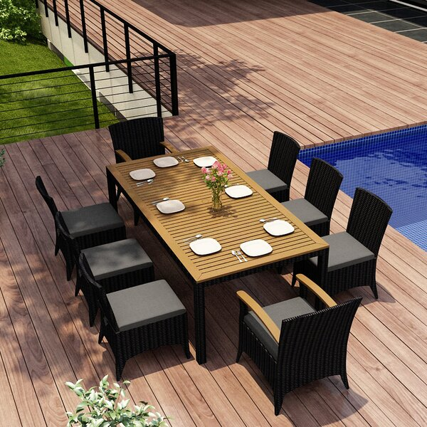 Holbrook 9 Piece Teak Sunbrella Dining Set with Cushions by Rosecliff Heights