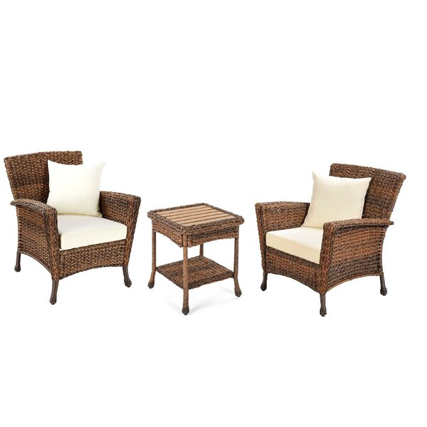Stephnie 3 Piece Rattan Conversation Set with Cushions by Ophelia & Co.