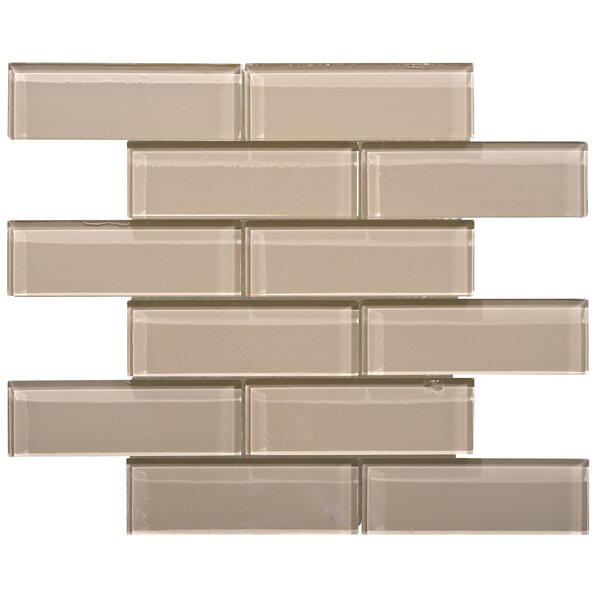 Premium Series 2 x 6 Glass Subway Tile in Beige by WS Tiles