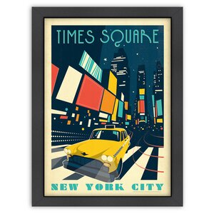 New York, Times Square Framed Vintage Advertisement by East Urban Home