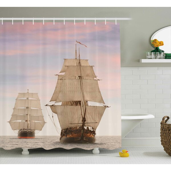 Wooden Sailing Ships Shower Curtain by East Urban Home