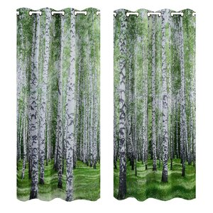 Summer Forest Digital Printing Curtain Panels (Set of 2)