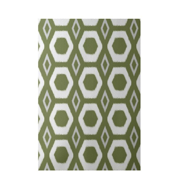 More Hugs and Kisses Geometric Print Olive Indoor/Outdoor Area Rug by e by design