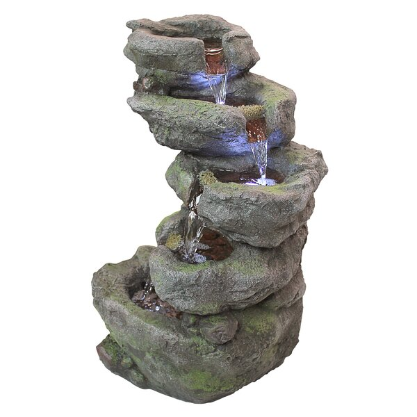 Resin Falls Illuminated Garden Fountain with LED Light by Wildon Home ®