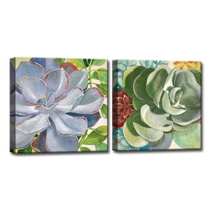 'Brilliant Succulents III/IV' by Norman Wyatt Jr. 2 Piece Painting Print on Wrapped Canvas Set by Ready2hangart