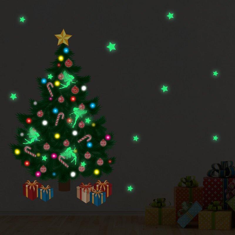 Christmas tree wall decals wayfair glow in dark traditional christmas tree wall decal audiocablefo