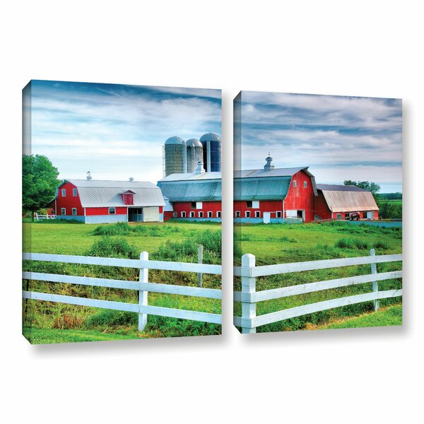 Red Barn, White Fence by Steve Ainsworth 2 Piece Photographic Print on Wrapped Canvas Set by ArtWall