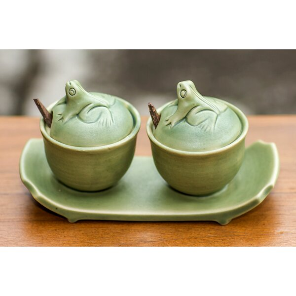 3 Piece Ceramic Condiment Bowl with Tray Set by Novica