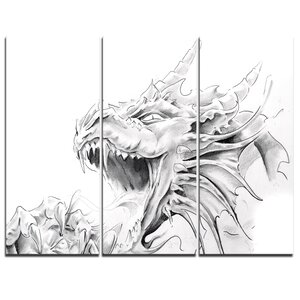 Dragon Tattoo Sketch - 3 Piece Graphic Art on Wrapped Canvas Set by Design Art