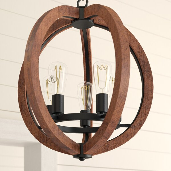 Orly 5 - Light Unique / Statement Globe Chandelier With Wood Accents By Laurel Foundry Modern Farmhouse