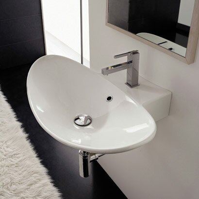 Zefiro Ceramic 36 Wall Mount Bathroom Sink with Overflow by Scarabeo by Nameeks