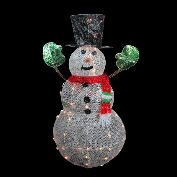 3-D Lighted Glittering Mesh Winter Snowman Christmas Yard Art Decoration by Northlight Seasonal