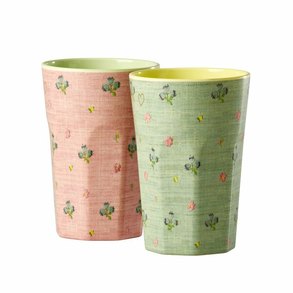 Helvic Tall Cup with Raffia Print in Acetate Box (Set of 2) by Winston Porter