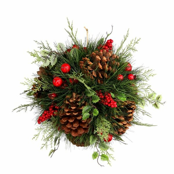 Holly, Berries, and Pinecones Kissing Ball by Regency International
