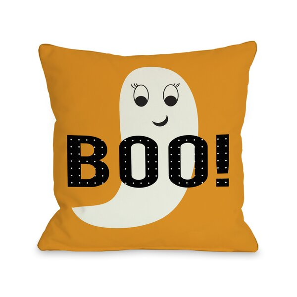 Smiley Ghost Boo Dot Throw Pillow by One Bella Casa