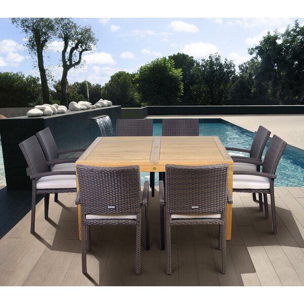 Arango 9 Piece Teak Dining Set with Cushions by Beachcrest Home