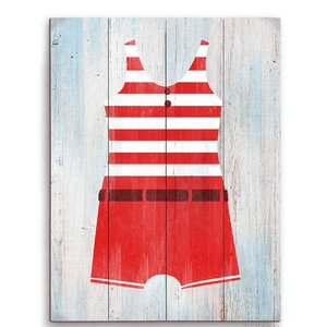 'Vintage Red Striped Boy's Beach Outfit' Illustration Graphic Art Plaque by Beachcrest Home