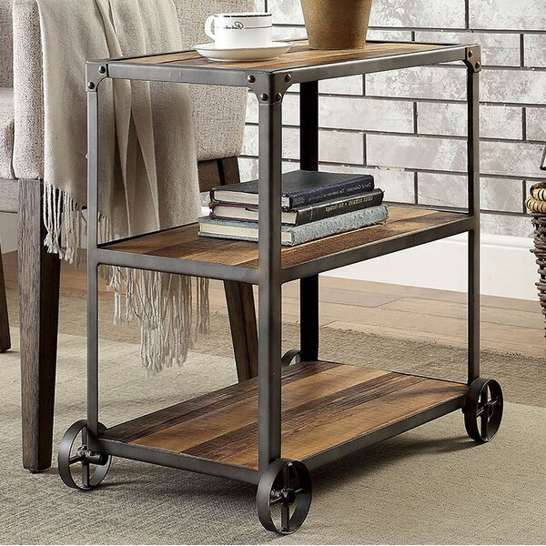 Maureen Industrial End Table with Caster Wheels by Williston Forge