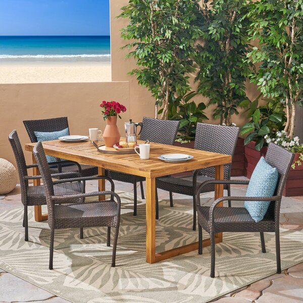 Deanne 7 Piece Dining Set by Bungalow Rose