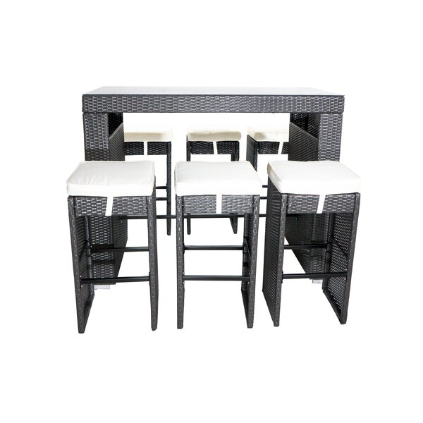 Hargrove 7 Piece Bar-Height Dining Set with Cushio