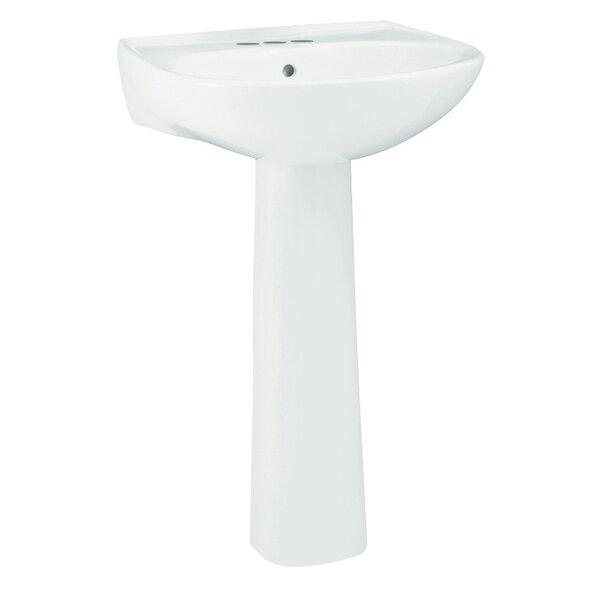 Sacramento Ceramic 21 Pedestal Bathroom Sink with Overflow by Sterling by Kohler