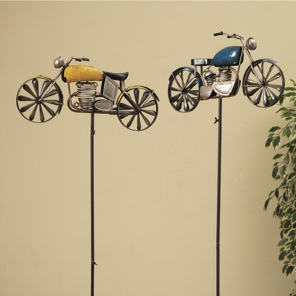 Motorcycle Spinners 2 Piece Garden Stake Set by Gerson International