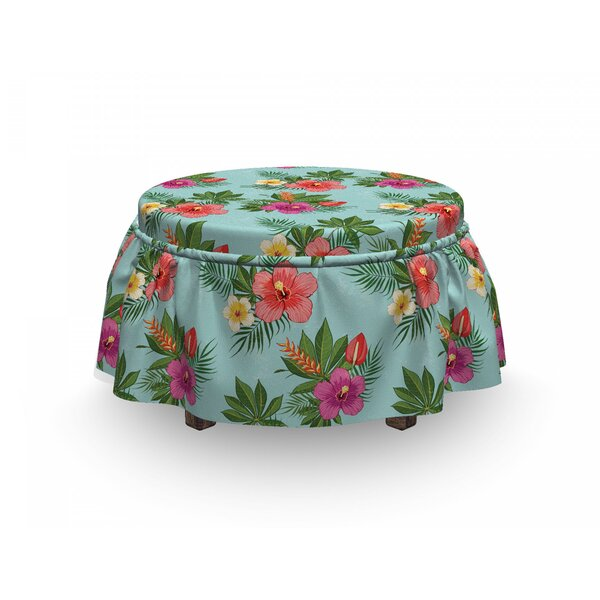 Blooming Hibiscuses Ottoman Slipcover (Set Of 2) By East Urban Home