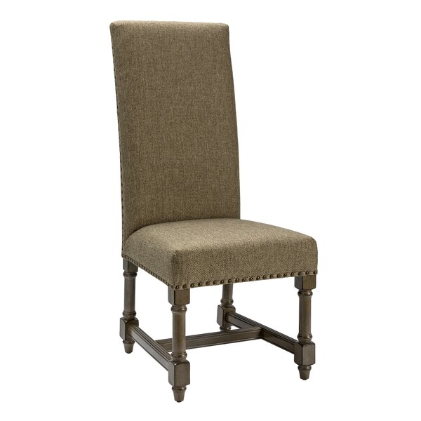 Baroque Linen Upholstered Dining Chair in Gray by Crestview Collection Crestview Collection