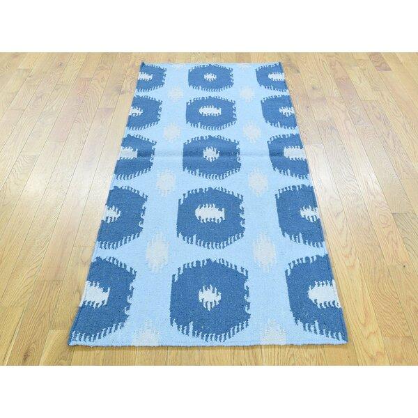 One-of-a-Kind Brawner Geometric Design Reversible Handmade Kilim Blue Wool Area Rug by Isabelline