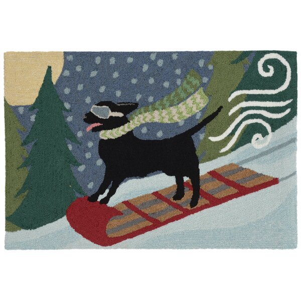 Stamper Toboggan Dog Hand-Tufted Blue/Green Indoor/Outdoor Area Rug by The Holiday Aisle