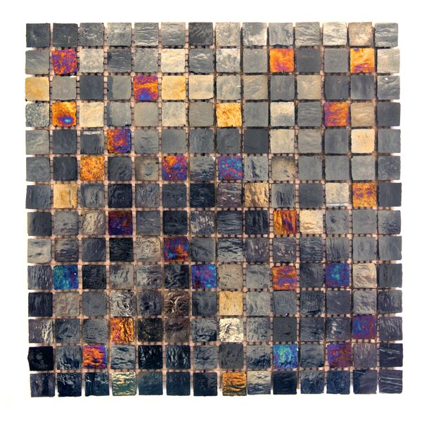 LEED Amber 0.75 x 0.75 Glass Mosaic Tile in Midnight by Abolos