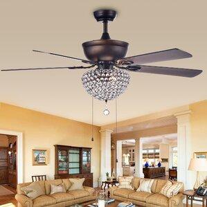 Ceiling Fan With Crystal Light | Wayfair