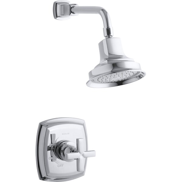 Kohler Margaux Rite-Temp Shower Valve Trim With Cross Handle And 2.5 Gpm Showerhead By Kohler