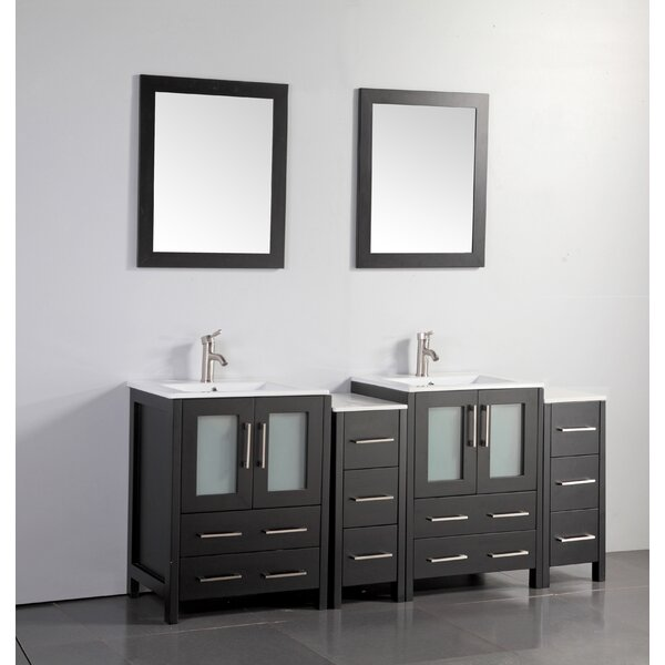Karson Modern 72 Double Bathroom Vanity Set with Mirror by Wade Logan