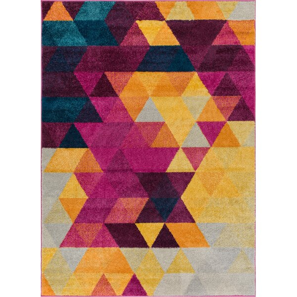 Bunce Mid-Century Modern Geometric Triangle Pink/Yellow Area Rug by Wrought Studio