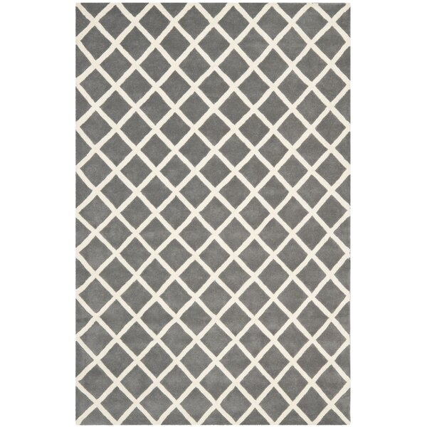 Wilkin Hand-Tufted Dark Gray/Ivory Area Rug by Wrought Studio