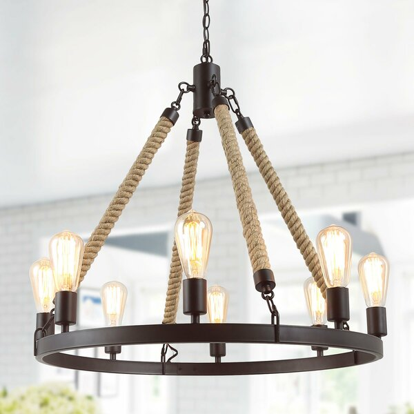 Mcdermott 8 - Light Candle Style Wagon Wheel Chandelier with Rope Accent by Longshore Tides Longshore Tides
