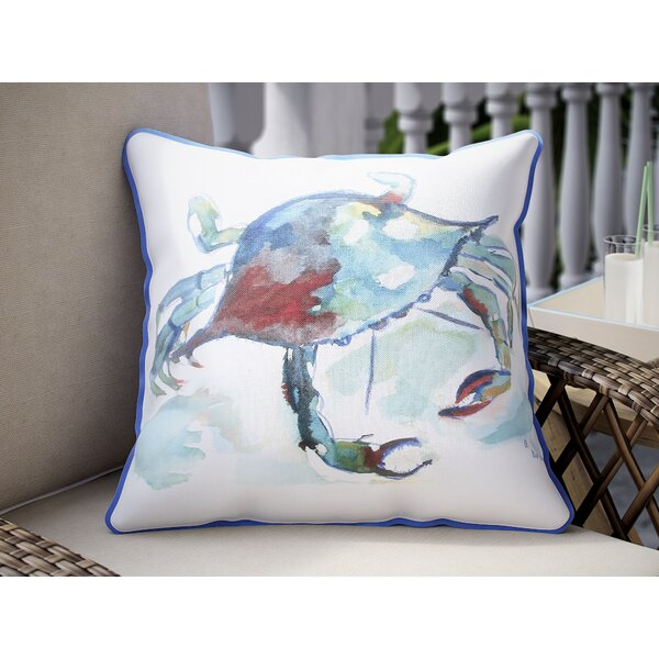 Coastal Crab Indoor/Outdoor Throw Pillow by Betsy Drake Interiors