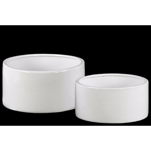 Daria Round 2-Piece Ceramic Pot Planter Set by Ebern Designs