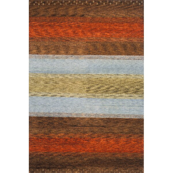 Havsa Desert Gabbeh Hand-Knotted Brown/Orange/Gold Area Rug by Loon Peak