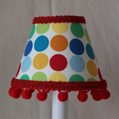 Circus Circles 7 H Fabric Empire Lamp Shade ( Screw On ) in Blue/Yellow/Green