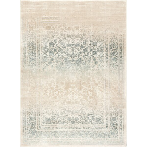 Aya Medallion Vintage Blue/Beige Area Rug by Bungalow Rose